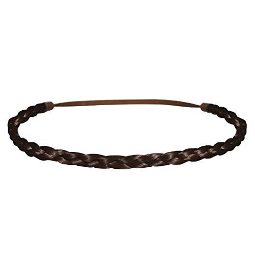 Mia Thin Braidie, Hair Accessory, Headband Made of Synthetic Braided Hair on Elastic Rubberband, Classic, Pretty, Medium Brown, For Women and Girls 1pc