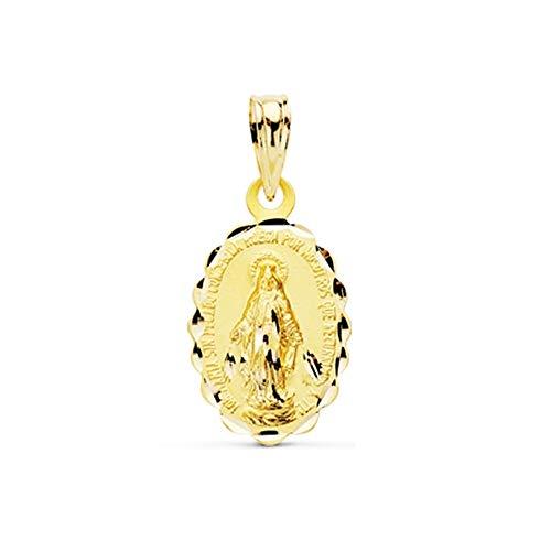 Medalla oro 18k Virgen Milagrosa 18mm. oval cerco tallado unisex