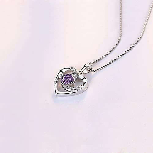 RSHJD Collar Colgante del corazón de Las Mujeres con el Collar de Plata del corazón del corazón del corazón para el día de San Valentín Presente,Púrpura