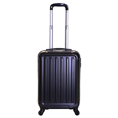 Slimbridge Hard Shell Cabin Carry-on Hand Luggage Suitcase Bag 55 cm 2.8 kg 35 litres with 4 Wheels and Number Lock, Lydd (55 cm, Black)