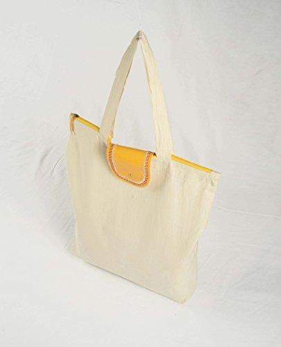VLiving Reutilizable y respetuoso con el medio ambiente de algodón básico con solapa de piel sintética y botón de latón bolsa de tela para compras diarias
