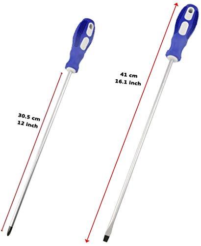 Nxtop 12-inch long Screwdriver Magnetic Tip Cross Head Flat Head NO.2 Screwdriver 2pack
