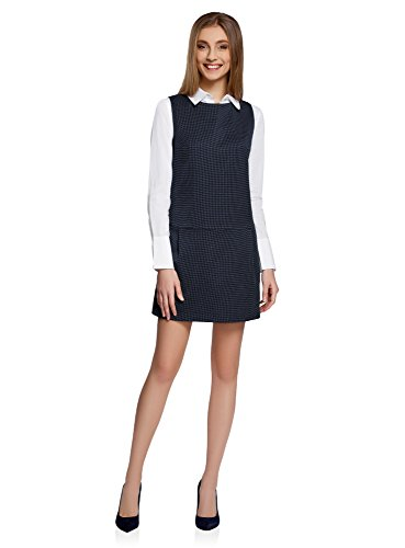 oodji Ultra Damen Kleid Basic mit Niedriger Taille, Blau, DE 38 / EU 40 / M