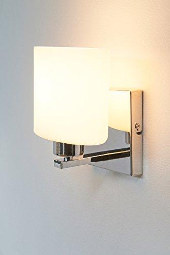 anTes interieur Wandleuchte Parata weiß mit LED-Leuchtmittel/Glasschirm/Metall verchromt/Wandlampe Schlafzimmer Flur