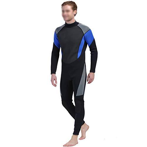 Wetsuit Herren 3mm Sommer Ganzkörper Taucheranzug Gummi Surfanzug Mit Langem Reißverschluss Herren Tauchanzug (Farbe : Schwarz, Größe : M)