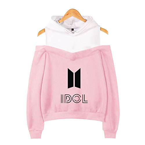 Kpop BTS Love Yourself Off The Shoulder Hoodie Jimin Suga V Jungkook Pullover Sweater