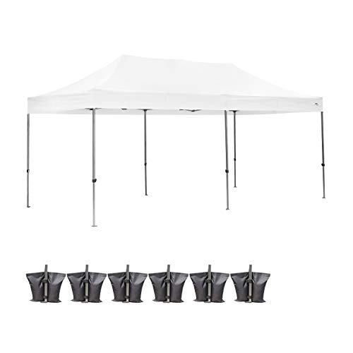 Outdoor Basic Heavy Duty 10x20 Ft Pop Up Canopy Wedding Party Tent Event Gazebos White with Wheel Bags and Sandbags
