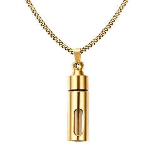 Halskette Männer Glaszylinder Aromatherapie Ätherisches Öl Parfüm Anhänger Halskette Feuerbestattung Edelstahl Männlicher Schmuck 42308