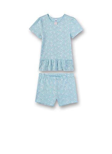 Sanetta Mädchen Pyjama kurz Zweiteiliger Schlafanzug, Blau (blau 5632), 98 (Herstellergröße:098)