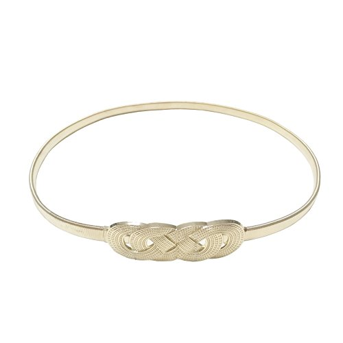 Torostra Womens Skinny Metal Belt Elastic Chain Waistband Stretchy Waist Belts Wedding Belt Fashion Thin Belts for Dress - Twine Gold