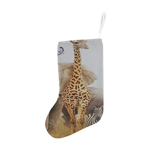 Reopx Childrens Themed African Safari Animal Composite Weihnachtsstrümpfe Child Christmas Stocking 17,52 Zoll (44,5 cm) für Christbaumschmuck Geschenke und Wohnkultur