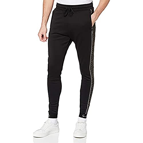 Gianni Kavanagh Black Upscale Joggers with Sparkling Gold Chándal, Negro, L para...