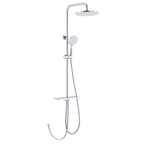 KAIBOR Edelstahl Duschsystem mit schöne Ablage, Duschset mit 26 cm Rund Kopfbrause, 3 Strahlarten Handbrause, Regendusche Höhenverstellbar, Duschsystem ohne Armatur, mit Wandhalterung Ablage