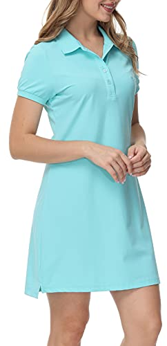 MoFiz Vestido de Polo Mujer Manga Corta Verano Algodón Trabajo Vestido Deportivo Tenis Golf Dress Azul Claro S