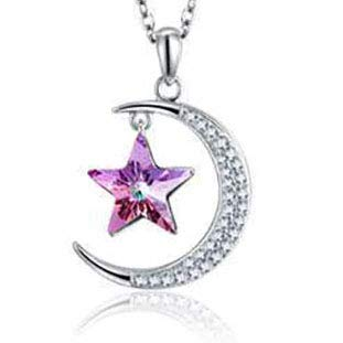 JYZ S925 Silver Star Moon Crystal Colgante Cadena de clavícula Femenina Collar Star Moon