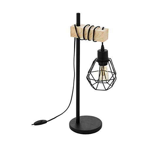 EGLO Tischleuchte Townshend 5, 1 flammige Vintage Tischlampe im Industrial Design, Retro Lampe, Nachttischlampe aus Stahl, Holz, Farbe: Schwarz, braun, Fassung: E27, inkl. Schalter