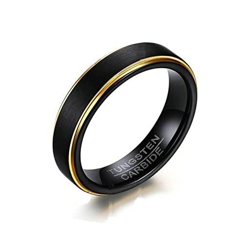 Anillo de tungsteno para hombre, tungsteno negro, oro mate, alianzas de boda para hombres, oro negro, talla L 1/2