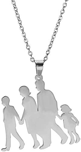 AMOZ Mama Papa Junge Mädchen Gehen Hand In Hand Anhänger Halskette Edelstahl Gravierte Figur Familie Parents Kinder Charm Halsketten Schmuck,Silber