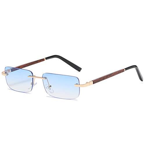 Sunglasses Gafas de Sol Gafas De Sol Populares De Madera Sin Montura para Mujer, Gafas De Sol Rectangular