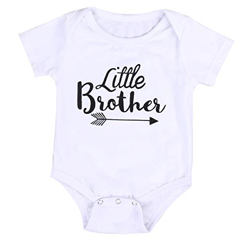 Neugeborenes Baby Mädchen Strampler Tops Hemd Big Sister & Little Brother Outfits Set Kleidung (Little Brother, 0-6 Monate)