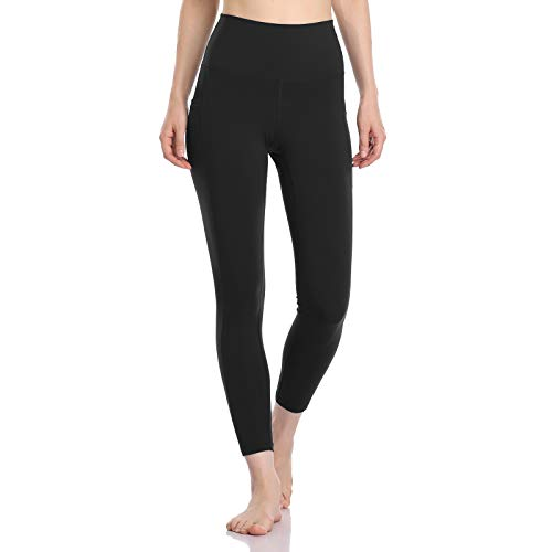 Colorfulkoala Women's High Waisted Yoga Pants 7/8 Length Leggings with Pockets (M, Black)