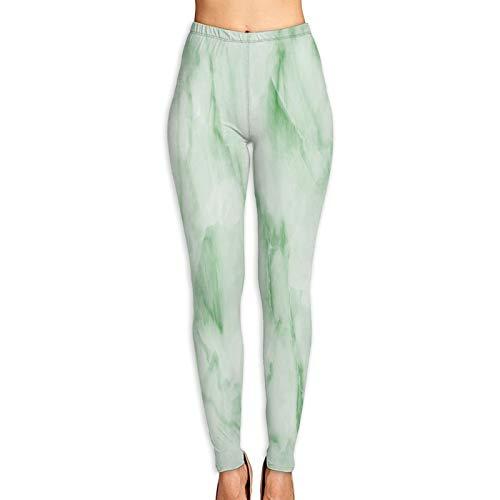 Pantalones de Yoga para Mujer,Fondo Textura Mármol Verde Fondo Textura Mármol Piso Piedra Decorativa Interior Piedra,Pantalones de Entrenamiento de Cintura Alta Medias elásticas de Yoga Impresas L