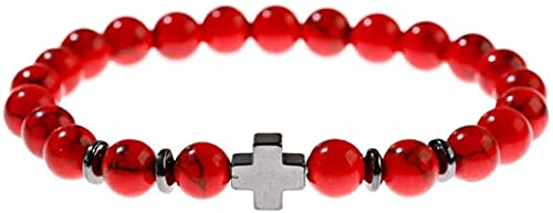 Pulsera china Pulsera hecha a mano Feng Shui Pulsera de piedra, mujer, 7 chakra 8mm perlas de piedra natural de color rojo turquesa brazalete elástico cruz joyería reza yoga energía reiki encanto joye