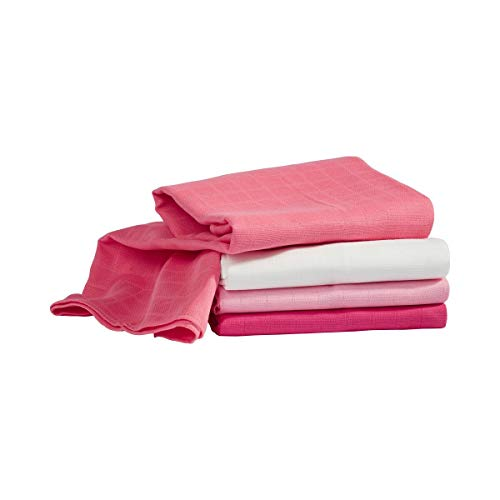 Bornino Lot de 4 langes de gaze 80 x 80 cm couche en tissu, rose vif