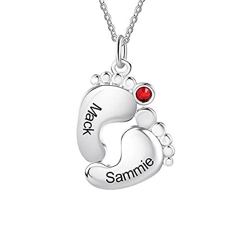 ZHUDJ Collar con Huella de bebé, Nombre Personalizado, Colgante de Piedra Natal, Collar, joyería, Regalos de cumpleaños para Madre