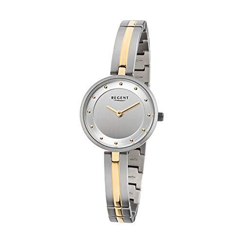 Regent Damen-Armbanduhr Elegant Analog Titan-Armband silber gold Quarz-Uhr Ziffernblatt silber URF1100
