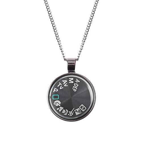 Mylery Hals-Kette mit Motiv Digital-Kamera DSLR Einstell-Rad Symbole Silber 28mm