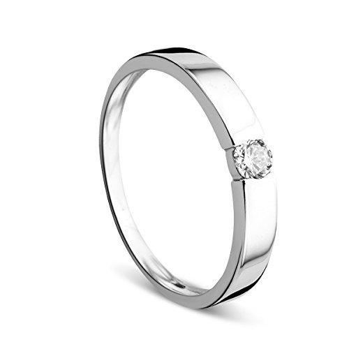 Orovi Ring für Damen Verlobungsring Gold Solitärring Diamantring 14 Karat (585) Brillianten 0.13ct Weißgold Ring mit Diamanten Ring Handgemacht in Italien