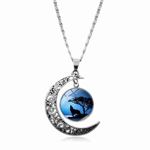 Collar con colgante de cadena de cabujón de cristal de lobo vintage místico con diseño de luna creciente