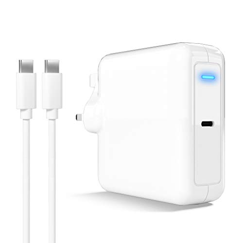 USB C PD Charger, 87W Power Supply Compatible with Mac'Book Air/Pro, Pad Pro, Phone 11/Pro/Max/XR/XS/X, Lenovo, ASUS, Dell, Hua'wei Matebook, HP Spectre and Other USB-C Devices, With 6Ft USB C Cable