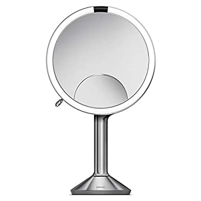 """simplehuman Sensor Mirror Trio, 8"""" Round with Touch-Control Brightness, 5X, 1x, 10x Magnification, Brushed Stainless Steel"""