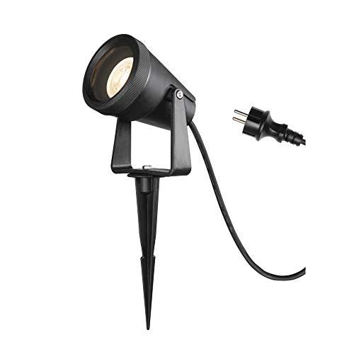SLV Erdspiessleuchte SAMRINA SP single QPAR51 / Außenlampe für die Beleuchtung von Garten, Terrasse, Pflanzen, Wegen, Teich, LED Aussen-Leuchte, Außen-Strahler / GU10 IP65 7.0W schwarz