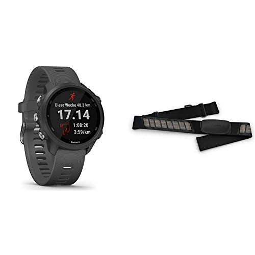 """Garmin Forerunner 245 – GPS-Laufuhr mit individuellen Trainingsplänen, 1,2"""" (3 cm) Farbdisplay & Premium-Herzfrequenz-Brustgurt Dual Basic, Herzfrequenzdaten in Echtzeit via Bluetooth Low Energy"""