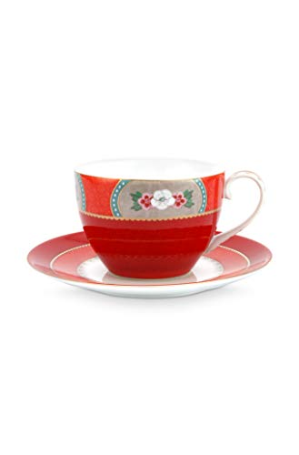 Pip Studio Cappuccino Tasse & Untertasse Blushing Birds | rot - 280 ml