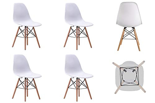 KUN_SK Silla de oficina para sillas de casa con patas de madera para el hogar, comedor, sala de estar, comedor, juego de 6 piezas de color blanco