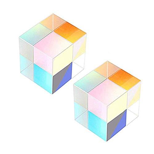 lembrd Würfel Prisma 2 STK Optisches Glas Würfel Prisma Fotografie Prisma, Lichtspektrum Physik Prisma, Wissenschaftliches Experiment Optisches Prisma 23x23x23mm