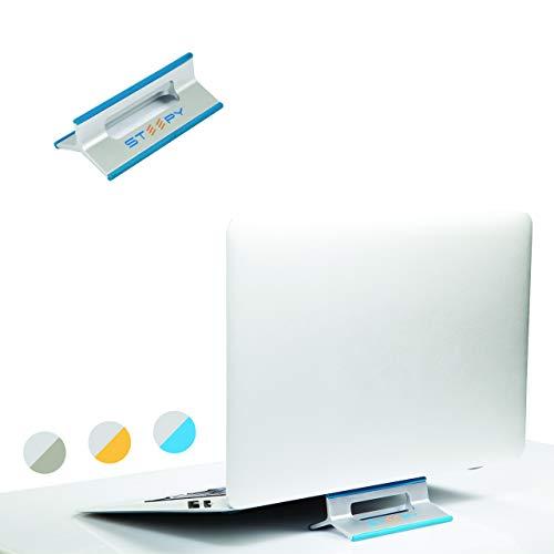 Steepy - Base Soporte para Laptop Computadora Portátil Macbook Tablet iPad Celular iPhone Accesorio de Escritorio con 3 Diferentes Alturas o Niveles para Ventilación (Azul, 1)