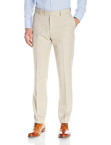 Louis Raphael Men's Rosso Flat Front Neat Tic Comfort Waist Dress Pant, Stone, 40W x 30L