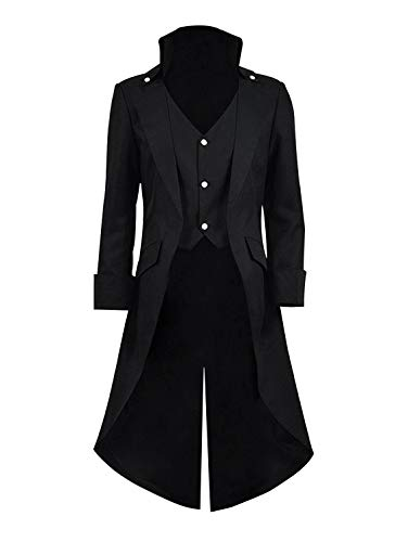 Qipao Mens Gothic Tailcoat Jacket Steampunk Victorian Coat Halloween Cosplay Costume Party Uniform (M, Black)