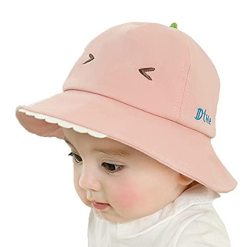 ZHANGYAN Sombrero de Pescadores Infantiles, UPF 50+ Wide Whead Sunhat, Playa Sunhat, 4 Meses - 3 años (Color : Pink, Size : 48-50cm/18.8-19.6in)