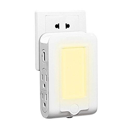 bysonice US 125V 15A AC Socket cargador de montaje en pared con 4 salidas AC puertos de carga USB dual Sensor de luz incorporado LED noche ranura teléfono titular