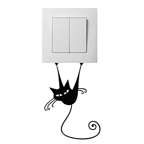 Pegatinas adhesivas para enchufes y interruptores   Adhesivo adhesivo de gato Acrobate – Decoración de pared para habitación infantil   Impermeable y extraíble – 11 x 8 cm
