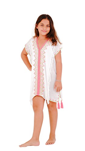 SHU-SHI Girls Toddler Swimsuit Cover up Tunic Dress Caftan White 2-12 Years