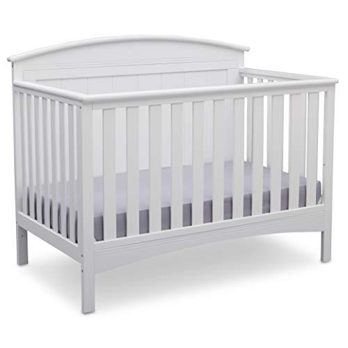 Delta Children Archer Solid Panel 4-in-1 Convertible Baby Crib, Bianca White