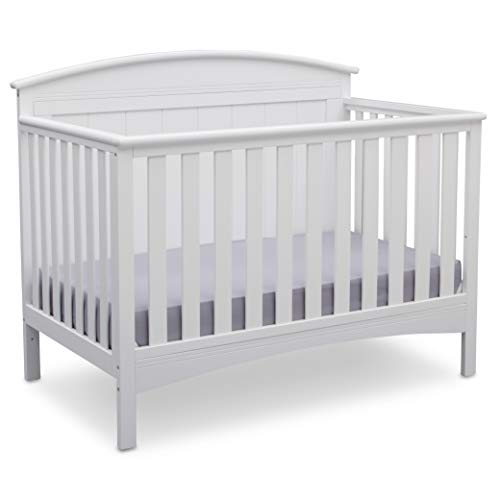 Delta Children Archer Solid Panel 4-in-1 Convertible Baby Crib, Bianca White