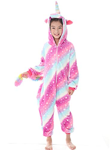 Tier Einhorn Pyjamas Cartoon Kostüm Jumpsuit Nachtwäsche Kinder Schlafanzug Erwachsene Unisex Fasching Cosplay Karneval, Star-3(kinder), 140(Höhe130-140CM)